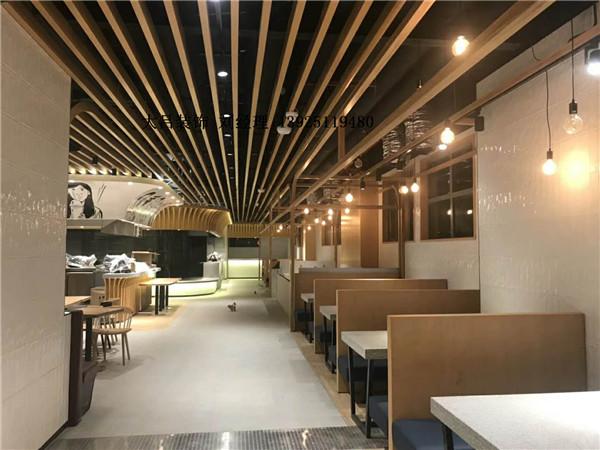 餐厅室内异型铝方通吊顶效果图